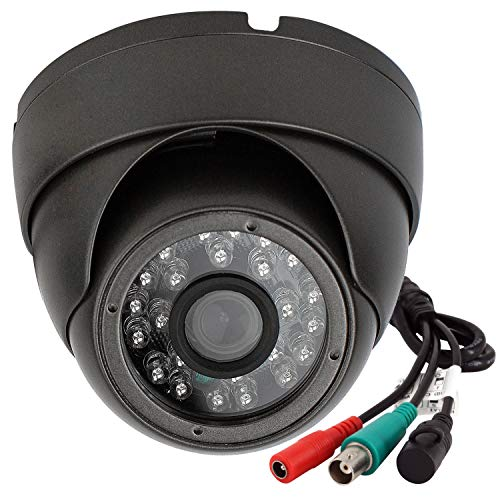 Analog CCTV Camera HD 1080P 4-in-1 (TVI/AHD/CVI/960H Analog) Security Dome Camera Outdoor Metal Housing, 24 IR-LEDs True Day & Night Monitoring 3.6mm Lens (Black)