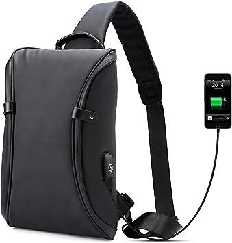 Bolsos Mochila Bandolera Portatil,Bolso del Pecho Impermeable con Cargador USB Recargable Backpack Hombre y Mujeres, Guardar 9.7 Inch iPad y Tableta