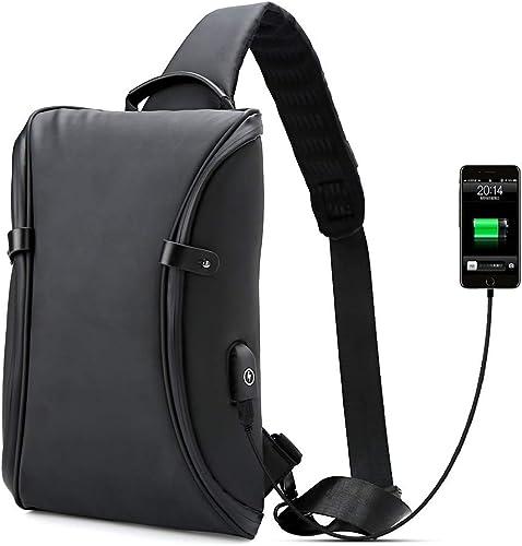 Men/'s Sling Bag Multifunctional Chest Pack USB Charge Crossbody Portable Handbag
