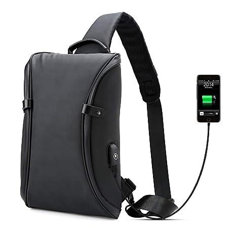 95cca92568 Impermeabili da Uomo Crossbody bag con ricarica USB in Bicicletta  Escursionismo Zaino Tracolla nera Borsa Petto