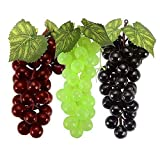 SENREAL 6 Bunches Artificial Grape Fake Grapes with Vines Lifelike Fruit Decorative for Kitchen Party Pub Home Cabinet Ornament(36 kernels)