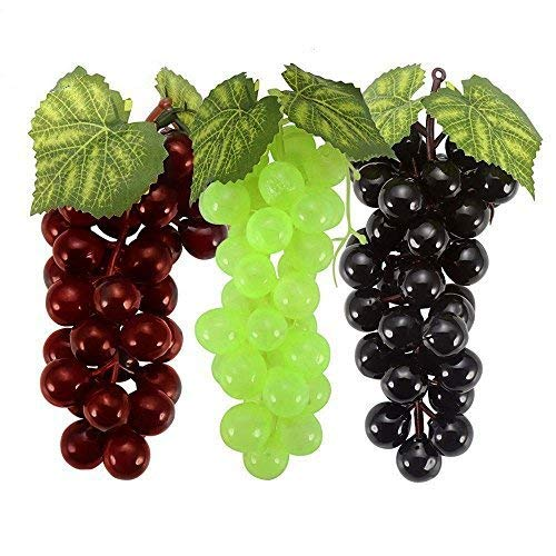 Grape Leaf Wine - SENREAL Artificial Fruit Lifelike Fake Fruit Decorative Fruit Pub Party Home Kitchen Cabinet Ornament Plastic Plants (Grapes)