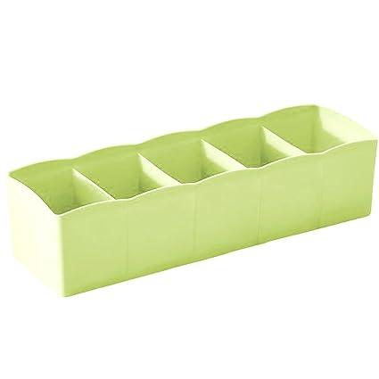 Plástico Calcetines Corbatas Lencería Ropa Interior Caja Organizador Uni Colores de 5 compartimentos