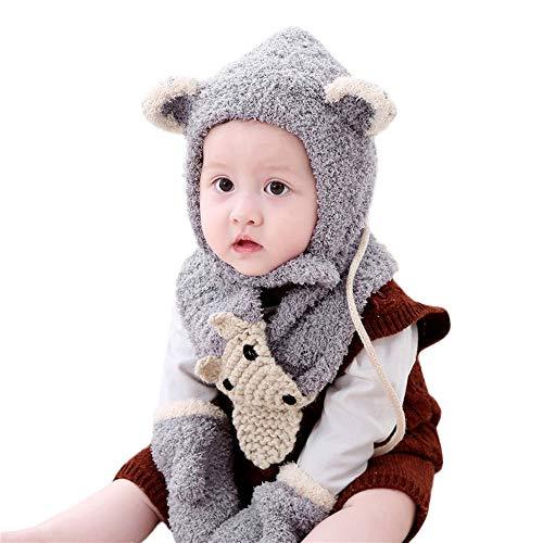 3Pcs Toddler Girls&Boys Baby Winter Warm Cute Fox Ear Crochet Knit Hat Beanie Cap Scarf Shawl Gloves Set (Gray, 6M-3 Y Baby)