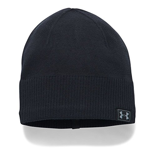 Under Armour Men's ColdGear Reactor Knit Beanie, Black (001)/Silver, One Size