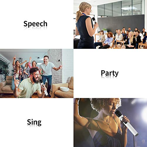 Shinco Wireless Microphone System with Mini Portable Receiver 1/4 inch Output, 2 Handheld UHF Microphone for Karaoke Party Wedding Church Meeting