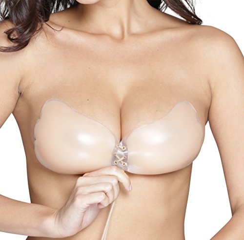 Oolala 4.5 Star Premium Backless Adhesive Sticky Strapless Silicone Pushup Bra,Nude/S-30C,32C,34A,34B (Best Bra To Push Breasts Together)