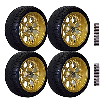 Image of E-Z-GO 215/35-14' Backlash Street Tire with Gold Flux Wheel Package Golf