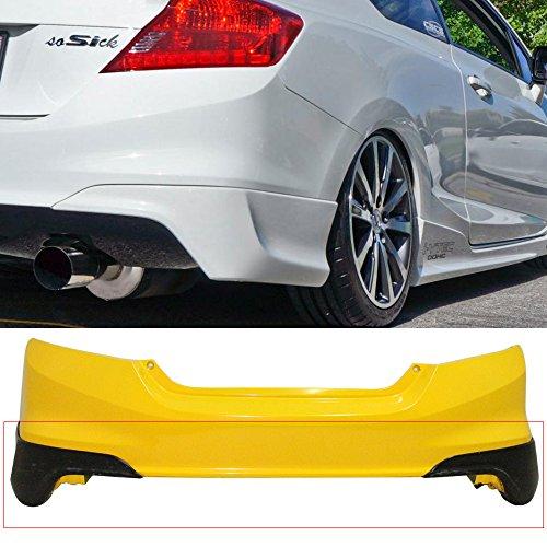 Rear Bumper Lip Fits 2012-2013 Honda Civic | HFP Style Black PU Rear Lip Finisher Under Chin Spoiler Underspoiler Splitter Valance Underbody Bumper Fascia Add On by IKON MOTORSPORTS ()
