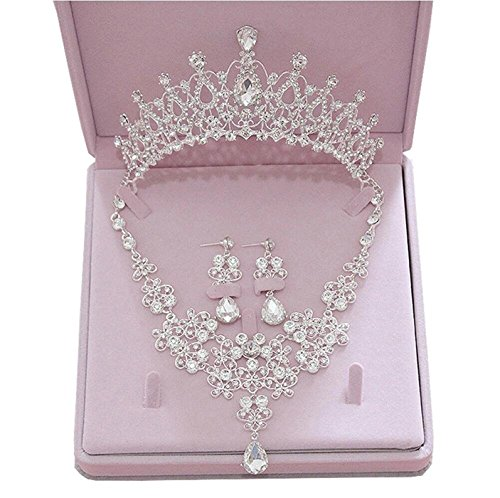 eNice Fashion Crystal Rhinestone Necklace Earrings Crown Flower Jewelry Sets for Wedding Bridal Party