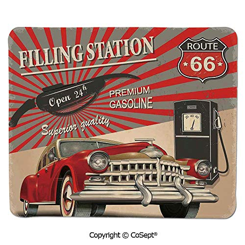 Mouse Pad,Poster Style Image Gasoline Station Commercial Kitschy Element Route 66 Print Decorative,for Laptop,Computer & PC (11.81