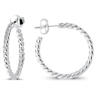 aefff6e05 Amazon.com: sense925 Sterling Silver Hoop Earrings Round Twisted ...