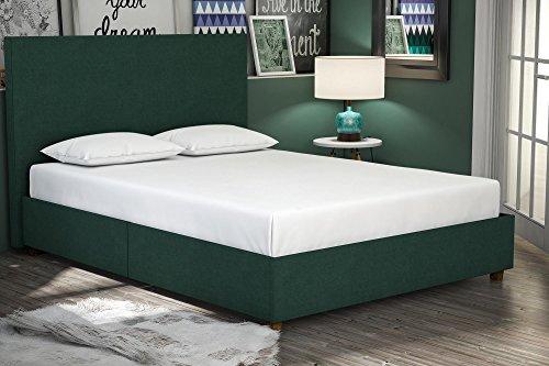 DHP Alexander Upholstered Platform Bed Frame, Green Linen, Full