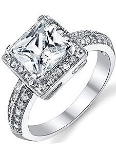 Cheap Sterling Silver Wedding Rings 9 Superb  Carat Princess Cut