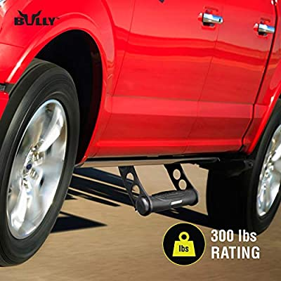 Bully BBS-1101S Black Bull Series Universal Truck Aluminum Adjustable Side Hoop Step Single Piece Black Powder Coated Includes Mounting Brackets - Fits Various Trucks from Chevy (Chevrolet), Ford, Toyota, GMC, Dodge RAM and J