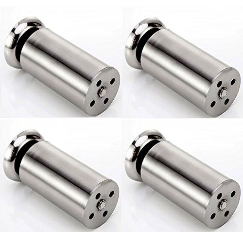 Qrity 4 Unidades Patas de Metal Muebles Armario de Cocina pies Redondo - Estera de Goma - Caja Fuerte y silenciosa 50 x 150mm