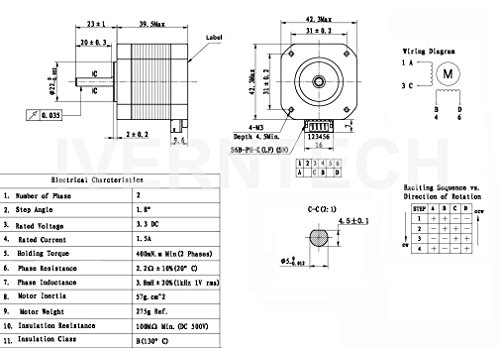 Iverntech Nema 17 Stepper Motor Bipolar 1.5A 400mN.m 2 Phase 4 Wires on 4 wire stepper motor wiring color code, 4 wire relay wiring diagram, 4 wire switch, 4 wire oxygen sensor wiring diagram, stepper motor driver circuit diagram,