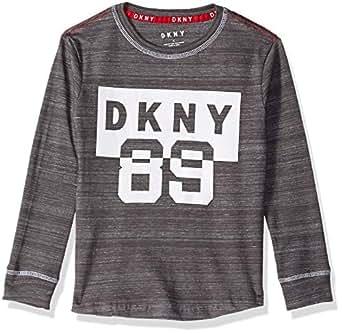 DKNY Little Boys' Long Sleeve Flocked Art Crew Neck T-Shirt, Dark Heather, 4