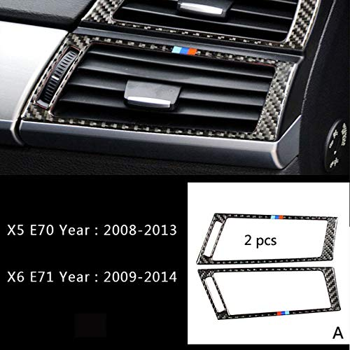 A Type Carbon Fiber Car Air Conditioning Vent Frame Cover Trim air Outlet Panel Decorative Sticker for BMW X5 F15 E70 X6 F16 E71  (color Name  F Type)