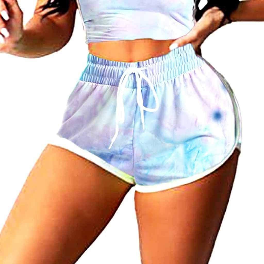 Portazai Short Set for Women 2 Piece Tie Crop Tank Tops Drawstring Active Workout Shorts Sports Sportswear Tracksuit Set