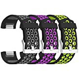 SKYLET for Fitbit Charge 2 Bands, 3 Pack Breathable Silicone Replacement Bands for Fitbit Charge 2 with Secure Watch Clasp (No Tracker)[Small, 3PC: Black-Gray&Black-Purple&Black-Green]