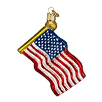 Old World Christmas Star-Spangled Banner Glass Blown Ornament