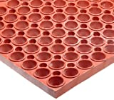 NoTrax T11 Heavy Duty Nitrile Rubber San-Eze II Safety/Anti-Fatigue Mat, for Wet or Greasy Areas, 39' Width x 29-1/4' Length x 7/8' Thickness, Red