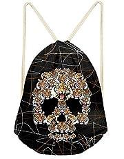 Trendy generous super cute Retro Skull Printed Drawstring Backpack for Women Travel Laptop Bag,Colour Name:Skulls-2 (Color : Skulls-4)