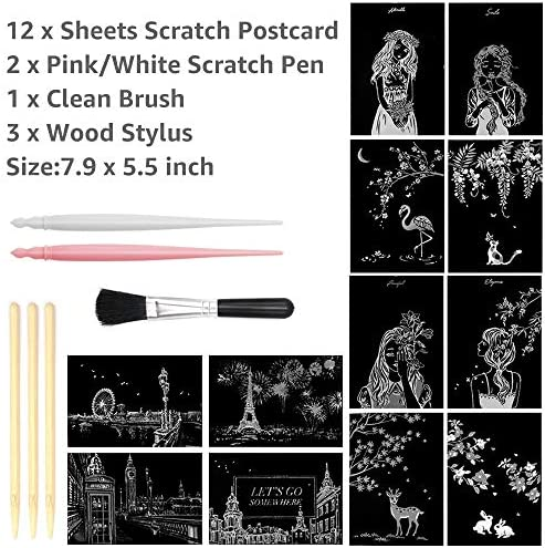 Mini Envelope Postcard Art /& Crafts Set: 12 Sheets Scratch Cards /& Scratch Drawing Pen Rainbow Night View Scratchboard Pads for Adults and Kids Brush 7.9x5.5 Building series Scratch Art Paper