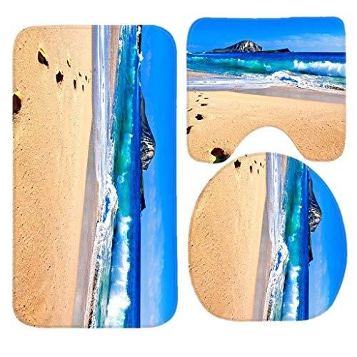 JOMYY Juego de Alfombrillas de baño Antideslizantes para la Playa en la península de Coromandel de Nueva Zelanda, 3 Piezas,...