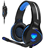 ieGeek SL100 Xbox One (S) Stereo Gaming Headset Lightweight, Over Ear Headphones with Mic for XB1 / PS4 Controller, PC/Laptop/Mac Games, Comfy Earmuffs, Noise Isolation, Bass Surround, LED Light, Blue