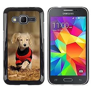 TECHCASE**Cubierta de la caja de protección la piel dura para el ** Samsung Galaxy Core Prime SM-G360 ** Dog Puppy Labrador Golden Reriever Brown