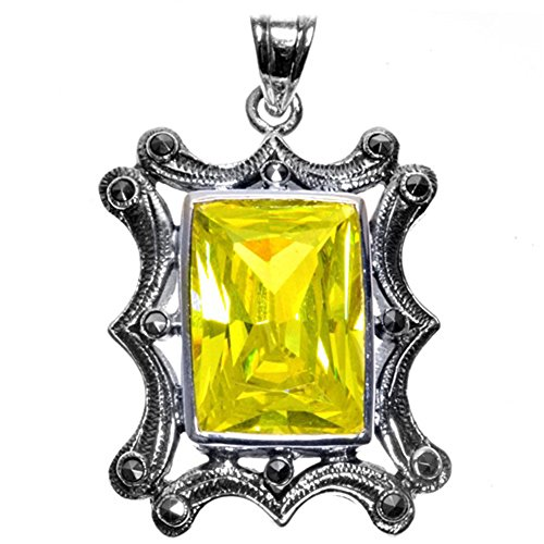 Solitaire Pendant Yellow Simulated CZ Marcasite .925 Sterling Silver Charm - Silver Jewelry Accessories Key Chain Bracelet Necklace Pendants ()