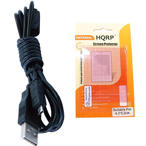 HQRP USB Cable/Cord compatible with Pentax OPTIO V10, V20, W10, W20, W30, W60 Digital Camera plus HQRP LCD Screen Protector