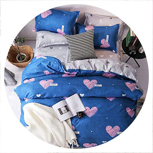 (retro store Home Textile Cyan Cute Cat Kitty Duvet Cover Pillow Case Bed Sheet Boy Kid Teen Girl Bedding Linens Set King Queen Twin,15,King Cover 220X240cm,Flat Bed Sheet)
