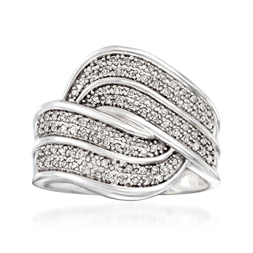 Ross-Simons 0.30 ct. t.w. Diamond Wave Ring in Sterling Silver ()