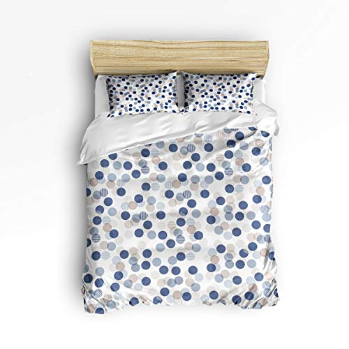 Amelia Comforter Set - YEHO Art Gallery , Colorful Dot Pattern White Cute 3 Piece Duvet Cover Sets for Boys Girls, Cute Decorative Bedding Set Include 1 Comforter Cover with 2 Pillow Cases Twin Size