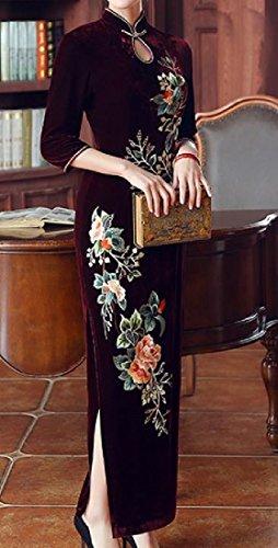 Ricamo Spacco Vino Collare donne Del Basamento S Dal Coolred Vestito Lungo Rosso Del Laterale Cheongsam Del FFqt6x