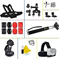 Xtech 30 Piece Accessory Kit for GoPro HERO4 Hero 4, GoPro Hero3+ Hero 3+, GoPro Hero3 Hero 3, GoPro Hero2 Hero 2, GoPro Surf Hero, GoPro Hero Naked, GoPro Hero 960 Digital Cameras Incldes: Adjustable Head Strap Mount+ Chest Strap Mount + Extendable Handle Monopod + Sealed Floating Bobber Handle Car and Flat surface Suction Cup Mount + Bicycle Handlebar + Flat/ Curvy Adhesive Sticky Mounts + 2 J-Hooks + Mini Tripod + Memory Card Case + Deluxe Cleaning Kit and HeroFiber Cleaning Cloth