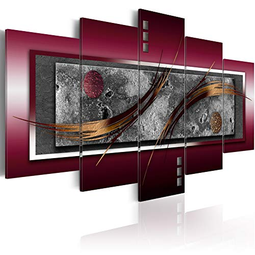 Abstract Canvas Prints Wall Art Burgundy Elegance Picture Contemporary 5 pcs Painting Home Decor Framed Giclee Artwork for Living Room Ready to Hang (CL06, Huge W80