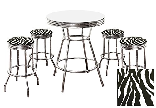 4 Zebra Print Pub Stools and White Pub Table Set by The Furniture Cove