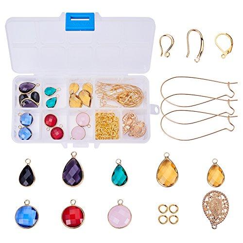 SUNNYCLUE 1 Set 136pcs Golden Tone Brass Faceted Gemstone Tear Drop Dangle Earrings DIY Jewelry Making Starter Kit Include 16pcs Drop Pendant, 20pcs Earring Hooks Ear Wire and 10g 6mm Jump Rings