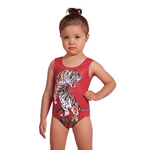 26ecf24b4bc8 Amazon.com  KONFA Teen Toddler Baby Girls Tiger Print Swimwear ...