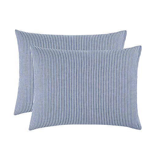 (Wake In Cloud - Pack of 2 Pillow Cases, 100% Washed Cotton Pillowcases, White Striped Ticking Pattern on Navy Blue (King Size, 20x36)