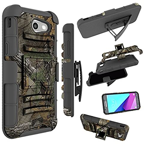 For Samsung Galaxy J3 Emerge Case, J3 Prime / J3 Eclipse / J3 2017 / J3 Luna Pro / Sol 2 / Amp Prime 2 / Express Prime 2 Cover, Zoeirc Shock Proof Dual Layer with Kickstand & Belt Clip Holster - Camo Cell Phone Cover