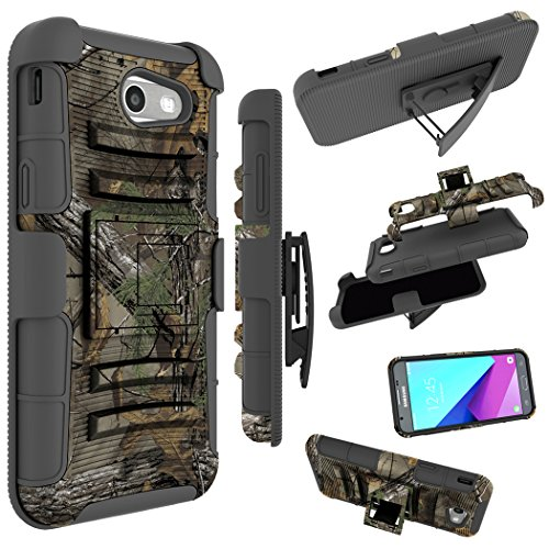 For Samsung Galaxy J3 Emerge Case, J3 Prime / J3 Eclipse / J3 2017 / J3 Luna Pro / Sol 2 / Amp Prime 2 / Express Prime 2 Cover, Zoeirc Shock Proof Dual Layer with Kickstand & Belt Clip Holster (camo)