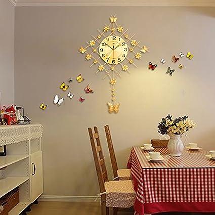 WXX Relojes creativos simple pared reloj moderno salón decoración láminas gran reloj de balanceo , golden