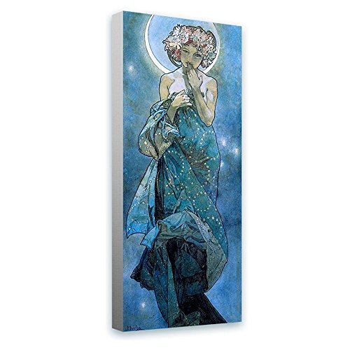 Alonline Art - Moon Alphonse Mucha FRAMED STRETCHED CANVAS (100% Cotton) Gallery Wrapped - READY TO HANG | 12