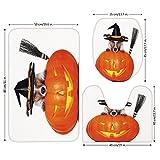 3 Piece Bathroom Mat Set,Halloween,Witch Dog with a Broomstick on Large Pumpkin Fun Humorous Hilarious Animal Print,Multicolor,Bath Mat,Bathroom Carpet Rug,Non-Slip