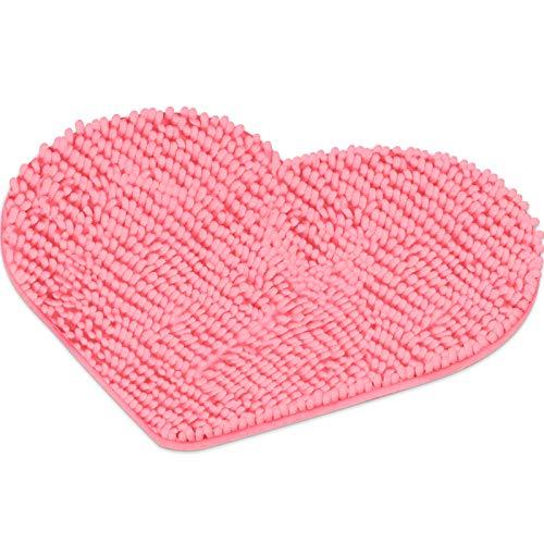 Valentine's Day Heart Shaped Rug Love Decorative Floor Mat Heart Shag Shower Mat Non-Slip Washable Doormat Entrance…